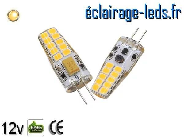 Ampoule led G4 2.5w SMD 2835 blanc chaud 3000K 12v DC ref A191-1