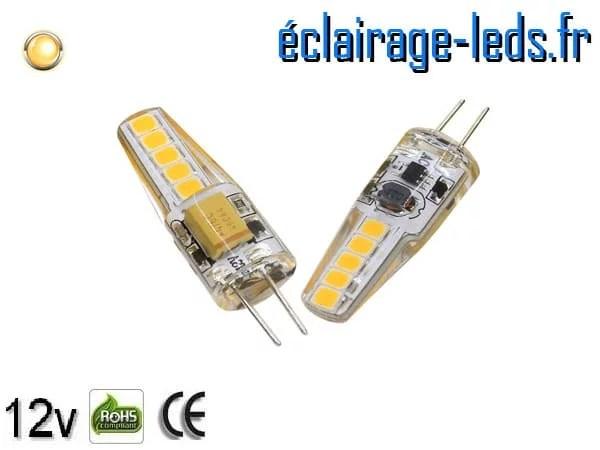 Ampoule led G4 2w SMD 2835 blanc chaud 3000K 12v DC ref A190-1