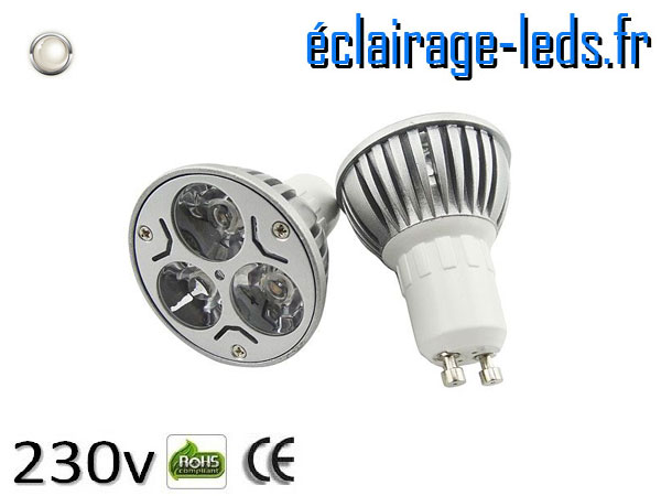 Ampoule led GU10 3*1w High Power blanc naturel 4200K 230v AC ref A118-2