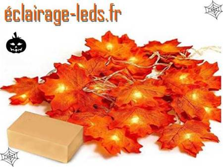 Guirlande Halloween 20 LED 2.20m feuille automne