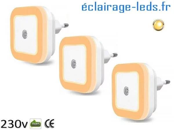 3 x Veilleuse LED crépusculaire Dimmable sur prise blanc chaud