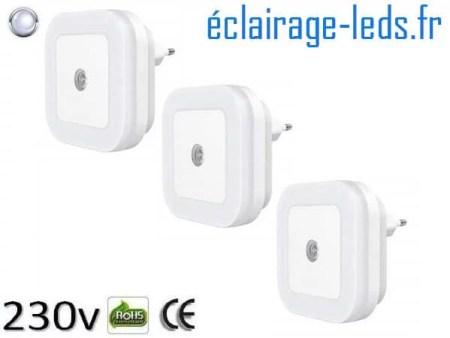 3 x Veilleuse LED crépusculaire Dimmable sur prise blanc froid