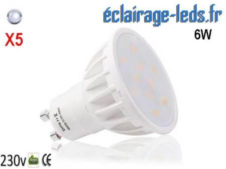 Lot de 5 ampoules led GU10 6W Blanc Froid 500lm Équiv 50W 120°