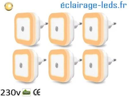 6 x Veilleuse LED crépusculaire Dimmable sur prise blanc chaud