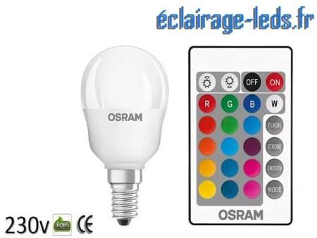 Ampoule LED E14 Blanc Chaud & Couleurs Télécommandée 4,3W