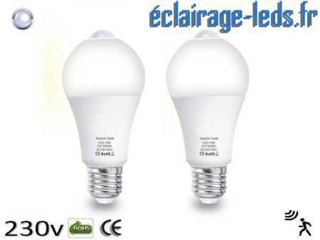 Lot de 2 ampoules LED E27 13 W Capteur de Présence blanc