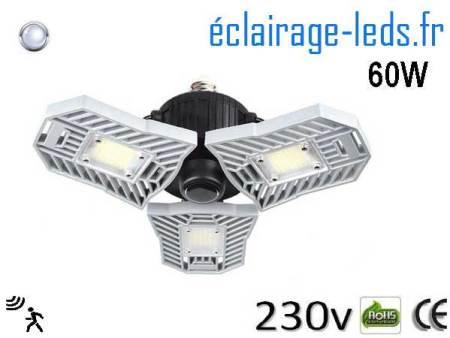 Ampoule led E27 plafonnier 60w blanc 6000K detecteur 230v