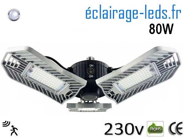 Ampoule led E27 plafonnier 80w blanc 6000k detecteur 230v