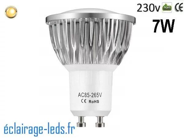 Ampoule led GU10 7W Blanc Chaud 3000K ~55W 140° 230v