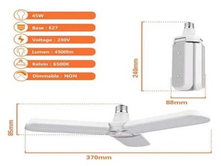 Ampoule led E27 plafonnier 45w COB blanc 6500K 230v AC 1