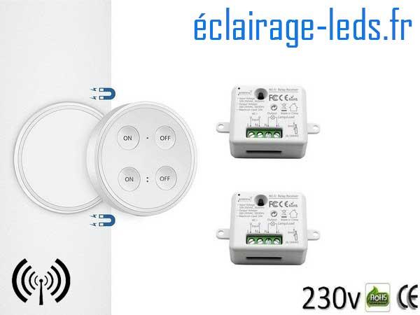 Kit double interrupteur sans fil RF + 1 émetteur 200m 2500w