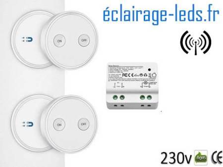 Kit Interrupteur sans fil RF + 2 émetteurs va et vient 200m 2500w