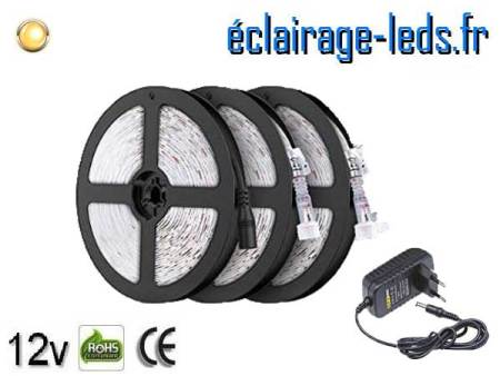 Kit Bandeau LED 15m Blanc chaud IP65 12v DC