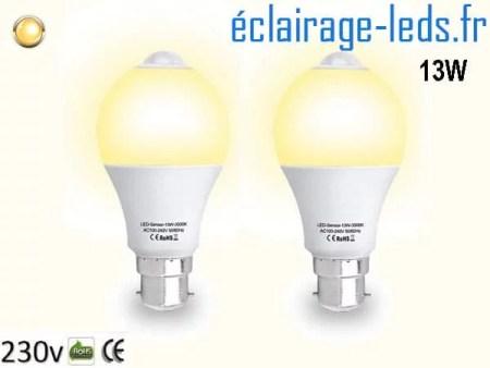 Lot de 2 ampoules LED B22 13 W Capteur de Présence