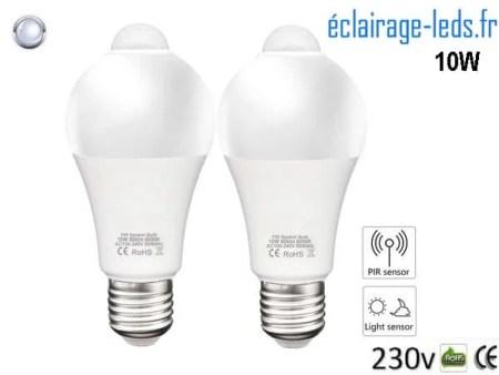 Lot de 2 ampoules LED E27 Capteur de Présence couleur blanc