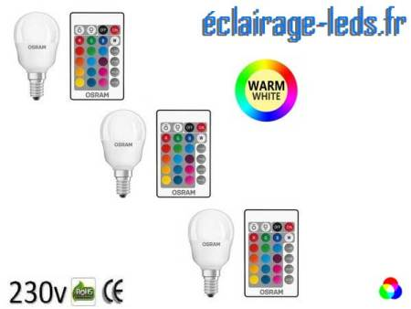 Lot de 3 ampoules LED E14 Blanc Chaud & Couleurs Télécommandée 4,3W