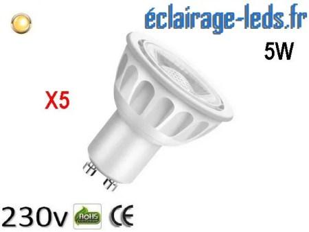 Lot de 5 ampoules led GU10 5W Blanc Chaud 3000K Équiv 45W 40°