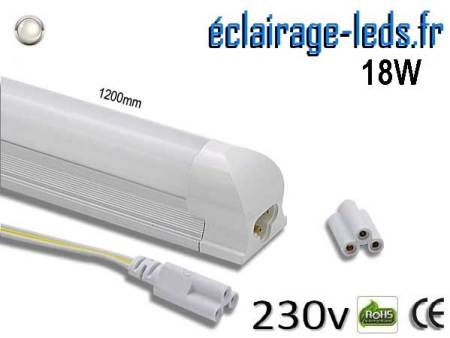 Tube LED T8 120cm 18w blanc naturel 1620 Lm 230v AC