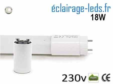 Tube LED T8 18w blanc naturel 1600 Lm 230v AC ref tu18-01