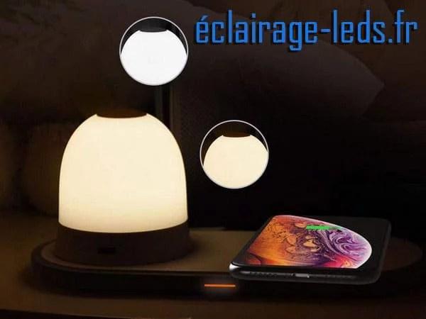 Veilleuse rechargeable sans fil avec Chargeur Induction Qi 230v
