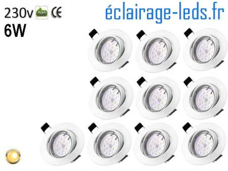 10 Spots LED GU10 Blanc chaud encastrable blanc