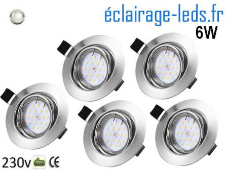 Kit 5 Spots LED GU10 Blanc Naturel encastrable chrome