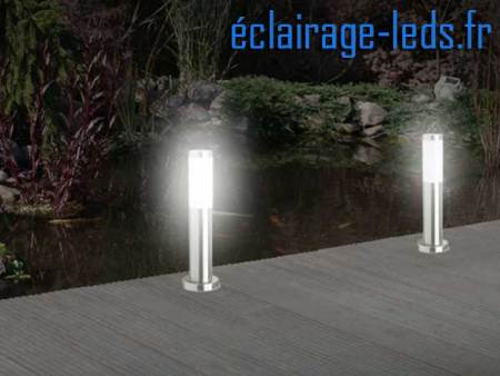 Lot de 2 lampadaires LED 45cm chrome 2 x 20W blanc froid IP44