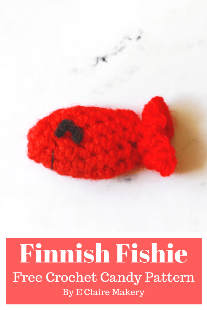 Finnish Fishie Free Crochet Candy Pattern 31 Days of Candy Day 15 by E'Claire Makery