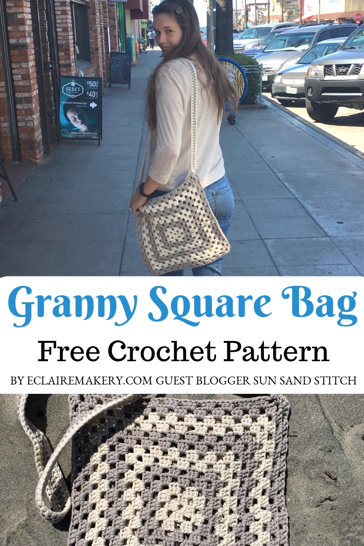 Granny Square Bag Free Crochet Pattern by ECLAIREMAKERY.COM Guest blogger Sun Sand Stitch