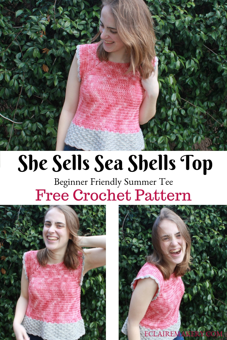 She Sells Sea Shells Top Beginner Friendly Free Crochet Pattern by ECLAIREMAKERY.COM