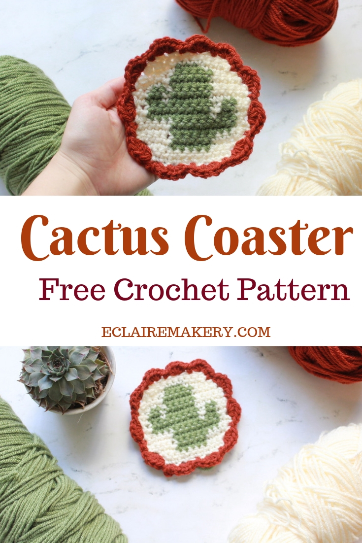 Tapestry Crochet Cactus Coaster Free Crochet Pattern by ECLAIREMAKERY.COM