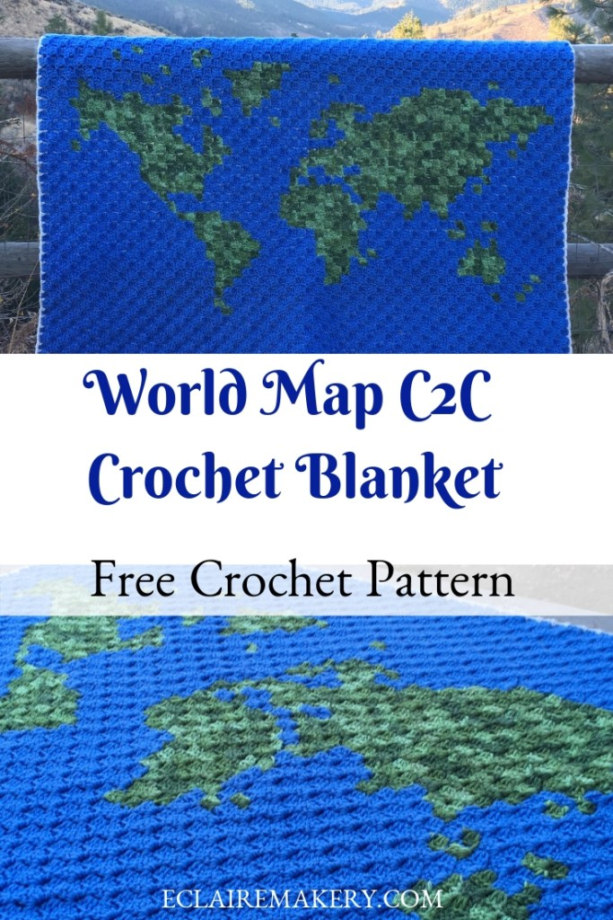 World Map C2C Crochet Blanket Free Crochet Pattern by Coffee and Crochet Goals featured on ECLAIREMAKERY.COM