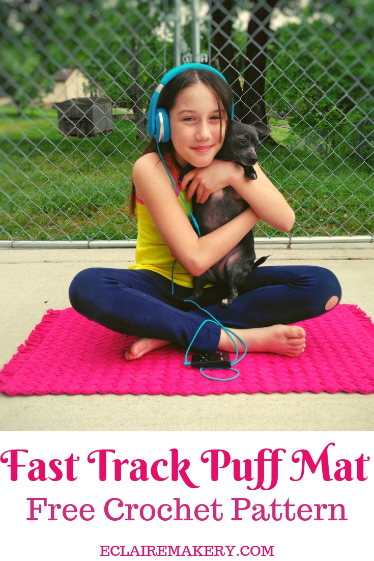 Fast Track Puff Mat Free Crochet Rug Pattern by Yarnqiue Blog for ECLAIREMAKERY.COM