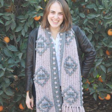 Winter Diamonds Crochet Blanket Scarf: Free Crochet Pattern