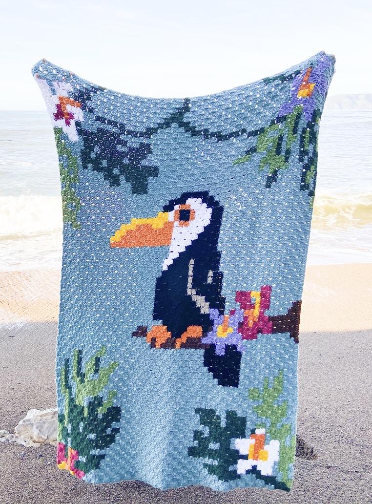 C2C Crochet Tropical Toucan Blanket: C2C Crochet Blanket Pattern