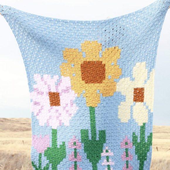 Flower Fields Blanket: Free Corner to Corner Crochet Blanket Pattern