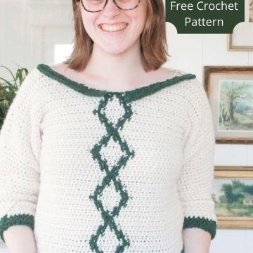 Your Sunday Best Sweater: Free Intarsia Crochet Sweater Pattern