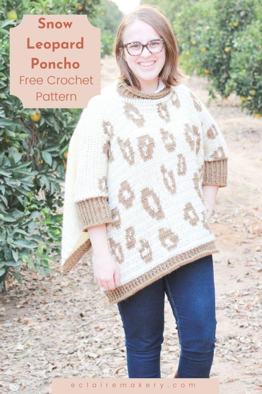 Snow Leopard Poncho: Free Tapestry Crochet Poncho Pattern