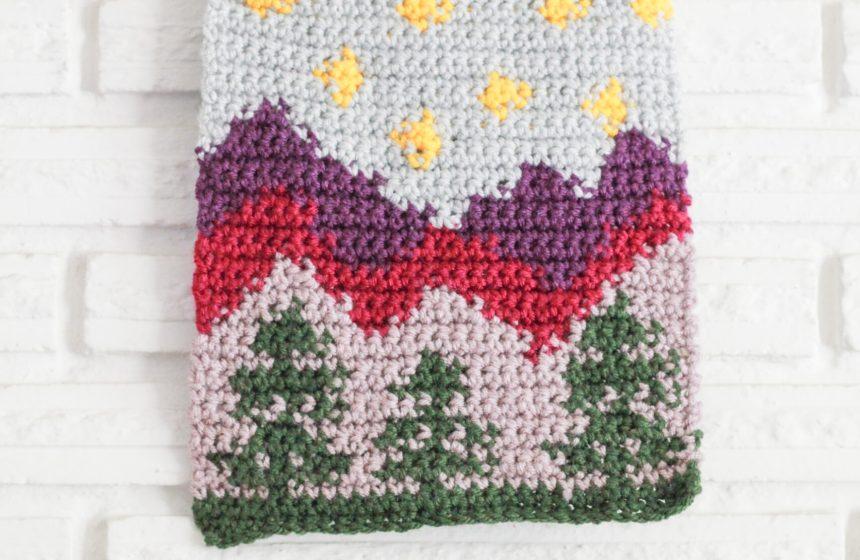 Twilight Mountains Wall Hanging: Free Intarsia Crochet Pattern