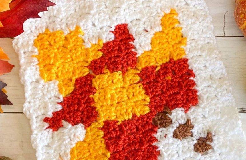 C2C Crochet Fall Leaf Free Blanket Square Pattern