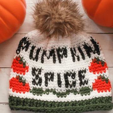 Pumpkin Spice Beanie: Free Fair Isle Crochet Beanie