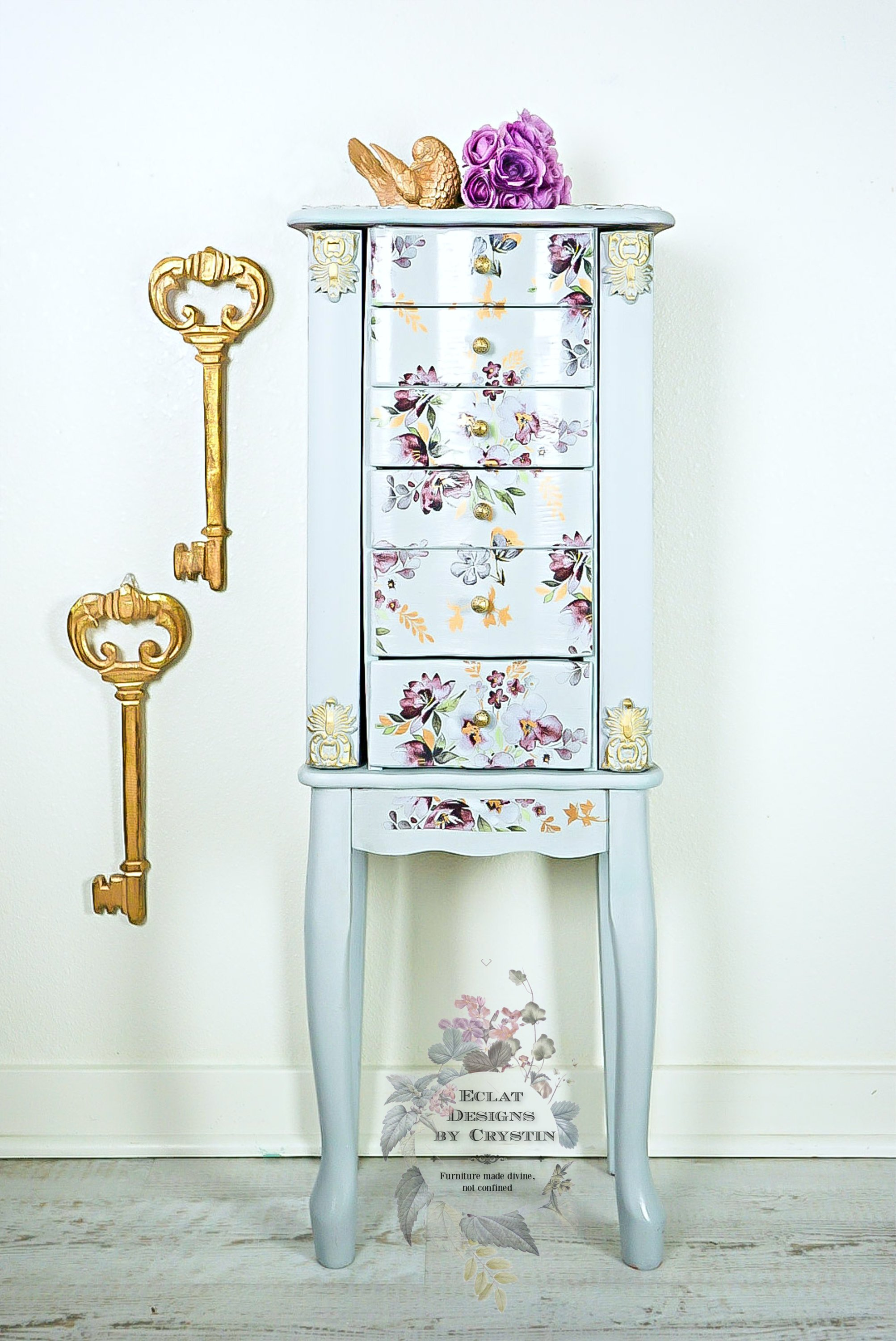 Floral Jewelry Armoire/Box/Organizer/ Case/Cabinet - Eclat ...