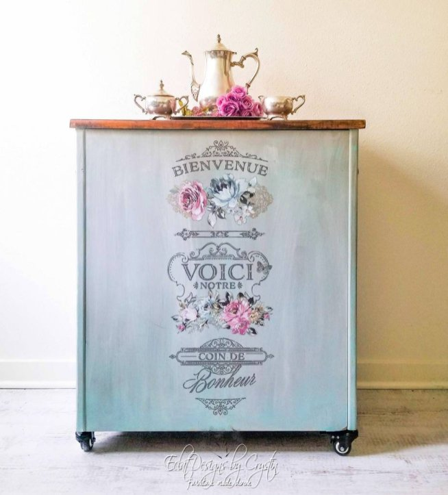 floral-kitchen-cart-island-beverage-station-eclatdeignsbycrystin-2