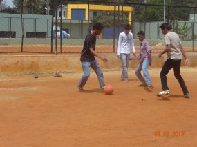 The guys at it, an energetic game of football!!