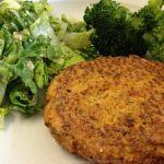 Salmon burgers (pictured here with Dr. Gundry's Seed-Sar Salad and steamed broccoli.)