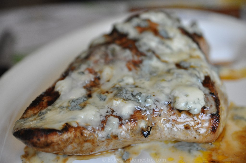 Buffalo grilled turkey breast with melted blue cheese