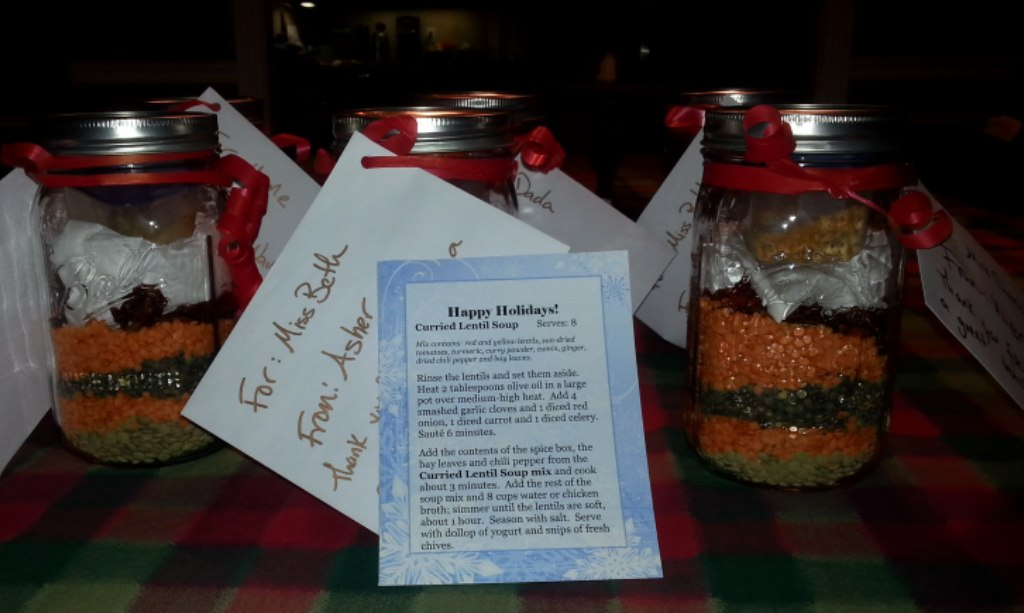 Curried lentil soup in a jar, ready for gifting