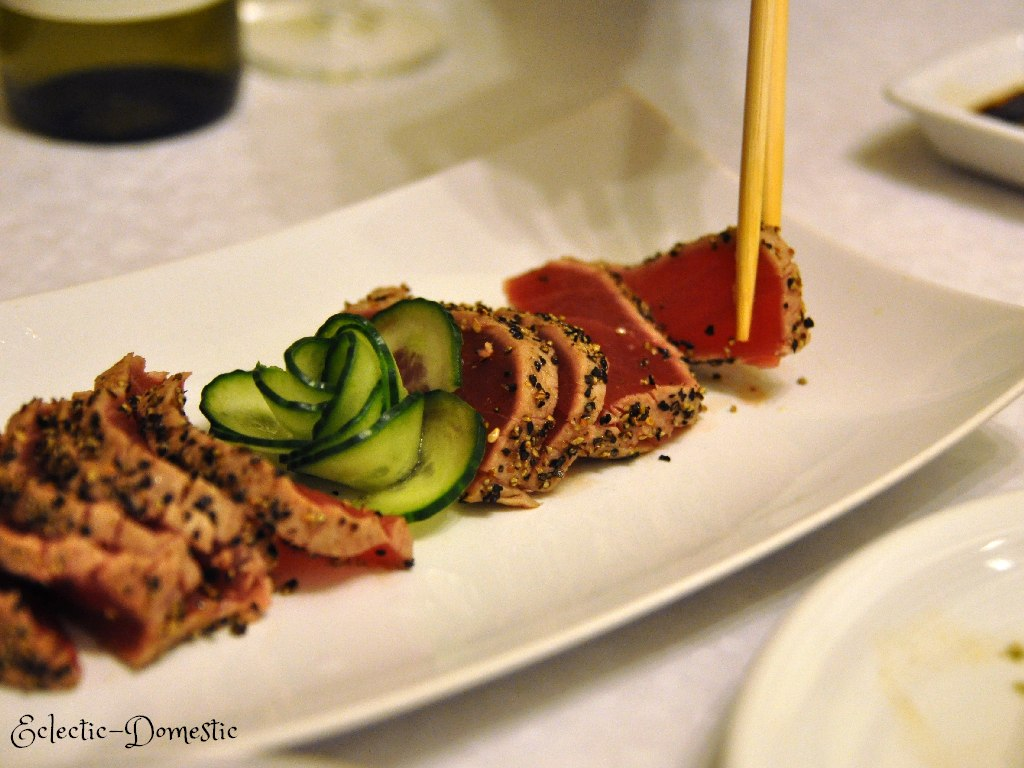 Lemon pepper seared tuna sashimi