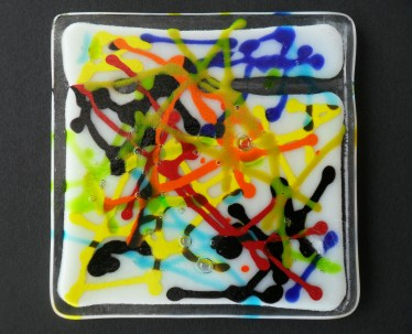 Jackson Pollock inspired coaster 10cm x 10cm - £12