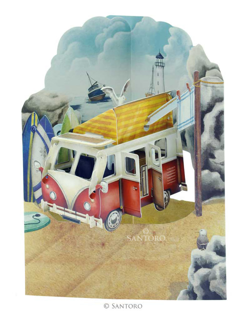 Santoro Camping Van – 3D Pop-Up Swing Card